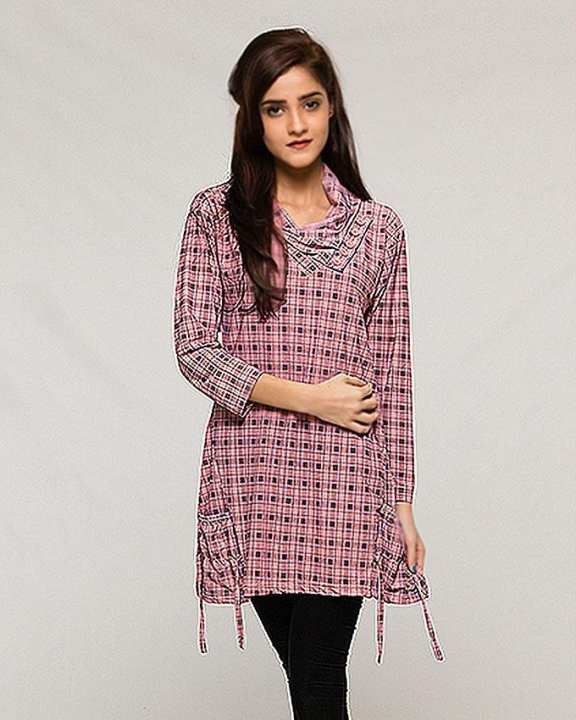 Multicolor Boski Linen Front Pockets Checkered Western Top for Women