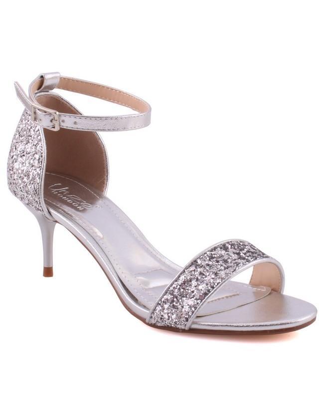 """4c3fea28cd00 Silver PU Women """"LEXII"""" Open Toe Kitten Heel Ankle Strap Shimmer Sandals  L30384"""