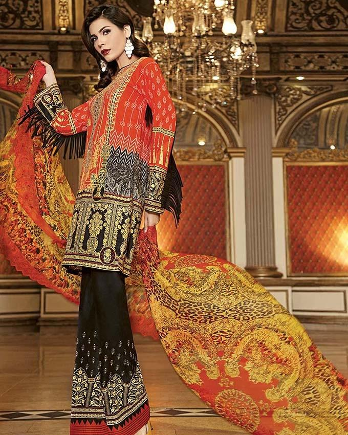 52ac6cde2d Gul Ahmed - Orange Chantilly with Printed shirt/shalwar & Emb Neckline 3 PC  Unstitched