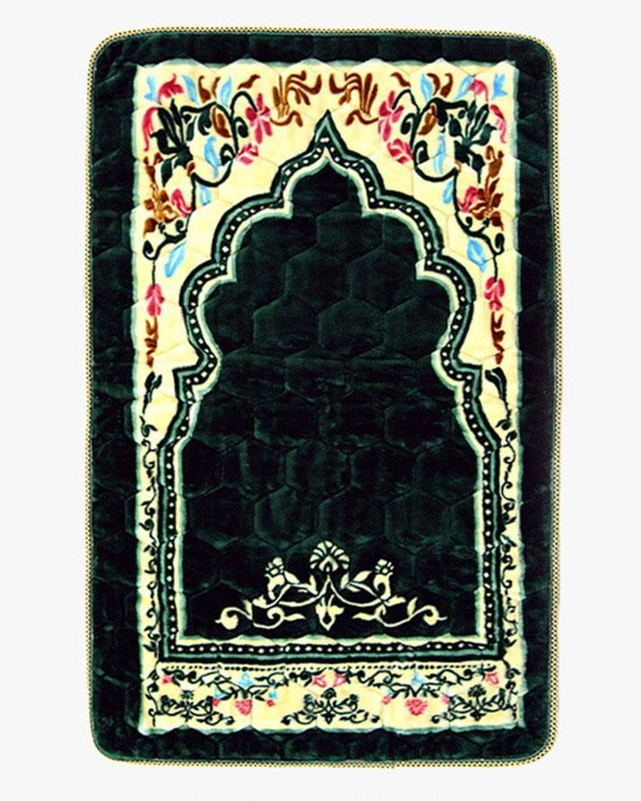 Green - Velvet Foam Quilted Jai Namaz | Prayer Mat | Prayer Rug