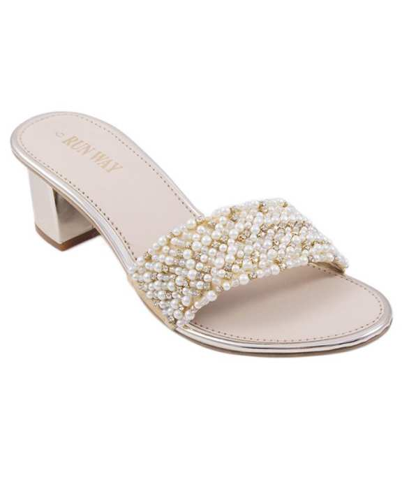 Gold Pearl Heels for Women