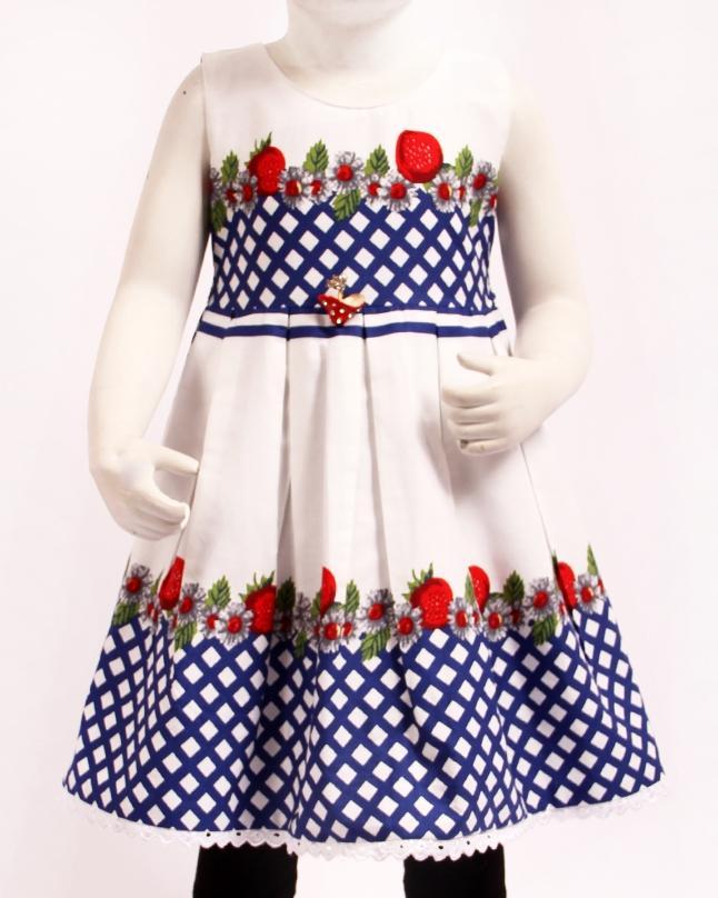 b9a6f34700 KIDZ N KIDZ White Printed Poplin Cotton Frock For Girls