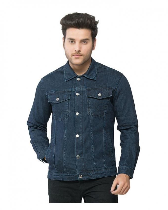 Dark Blue Denim Jacket with Silver Buttons for Men