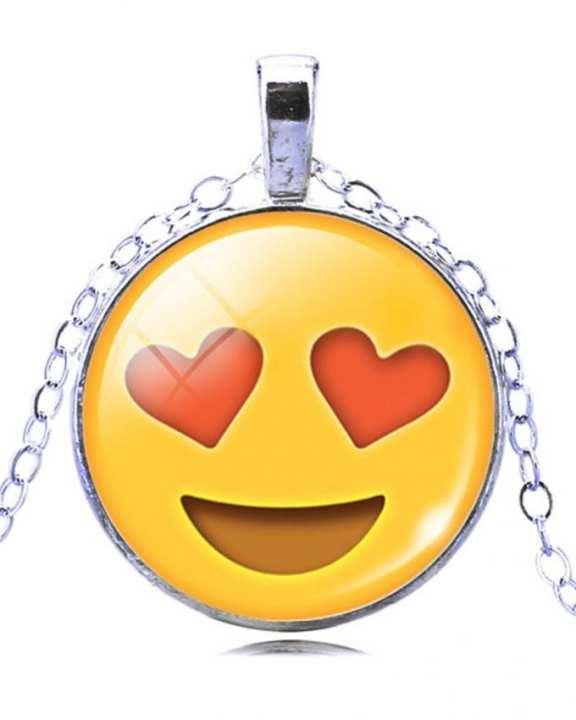 Heart in Eyes Emoji Pendant Necklace