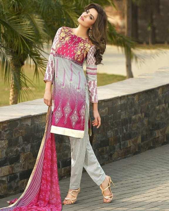 Fushia - Lawn - Unstitched dress for women - 3Pcs