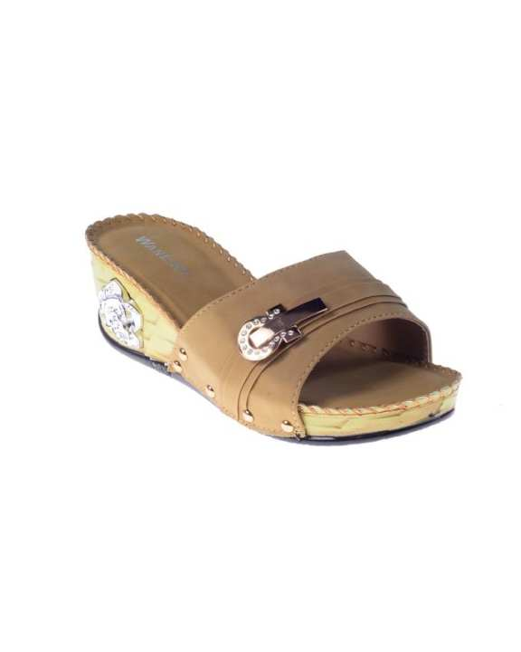 Camel Synthetic Leather Wedge for Women - QQ177