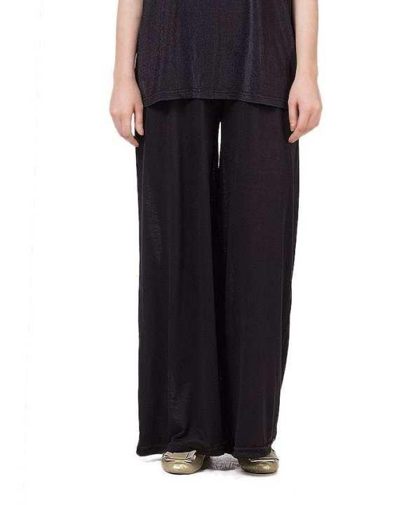 Black Jersey Palazzo Pants For Women