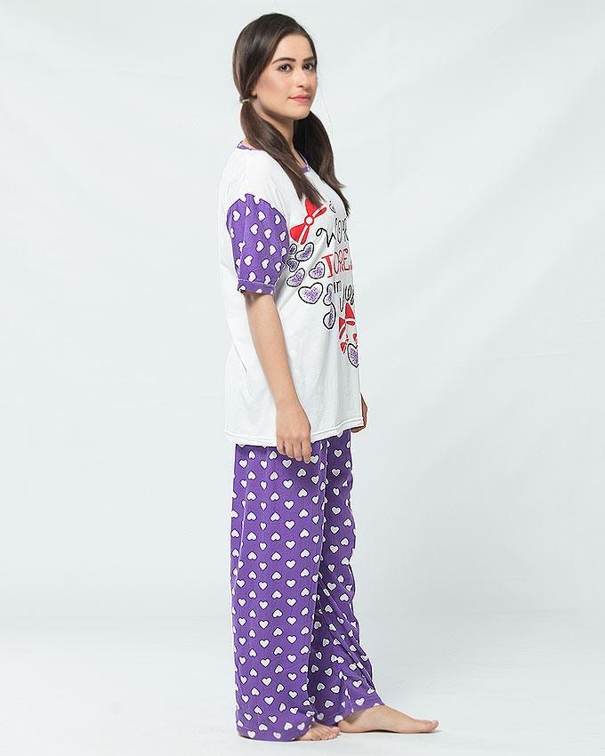 White & Purple Cotton Jersey Nightwear for Women
