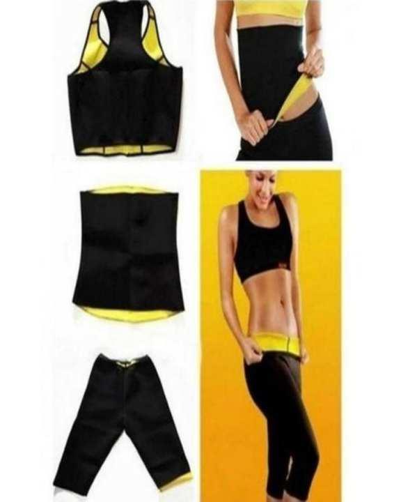 Pack of 3 - Hot Shaper Belt, Trouser & Bra for Women - Black & Yellow