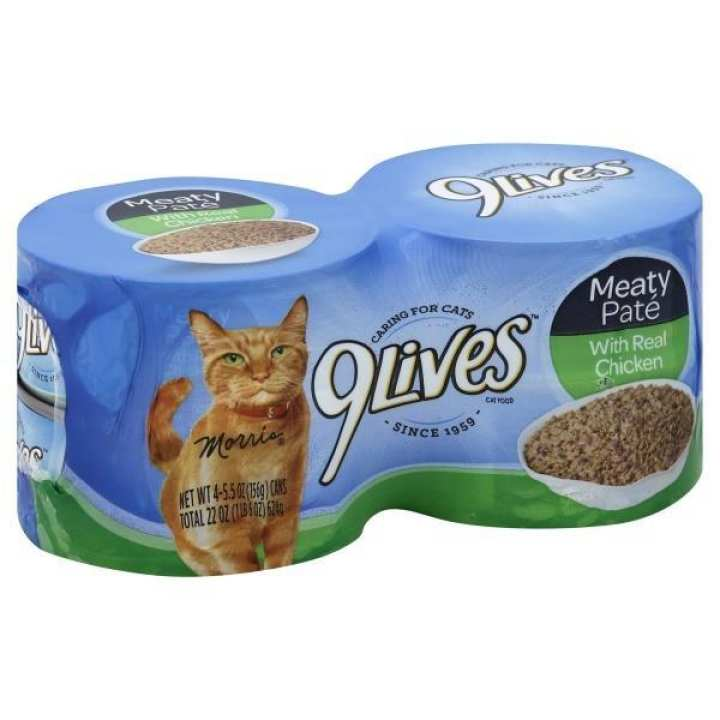 9 LIVES CAT FOOD MEATY PATE WITH REAL CHICKEN 4 x 140 gm
