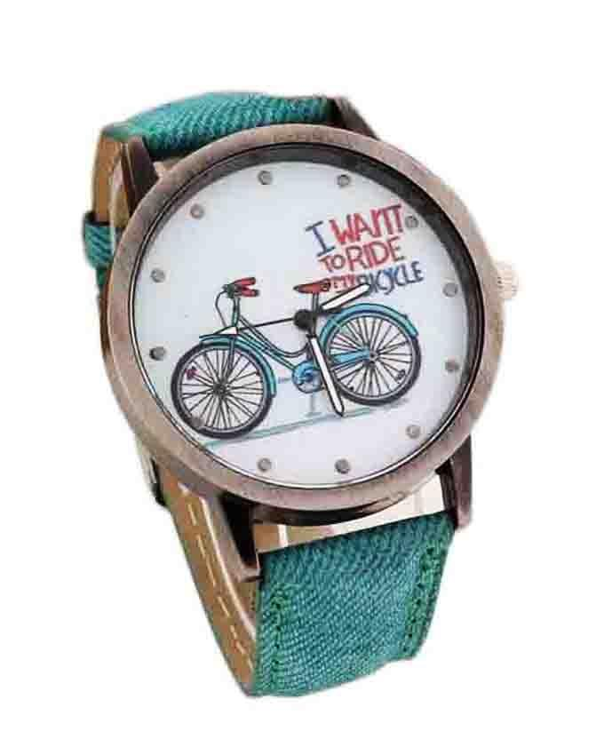 Green Denim Strap Bicycle Watch for Women