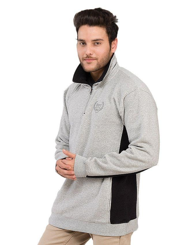 Grey & Black - Fleece - Sweatshirt for Men