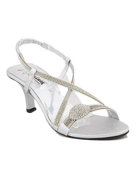 Silver Synthetic Heel Sandal For Women 3414/010