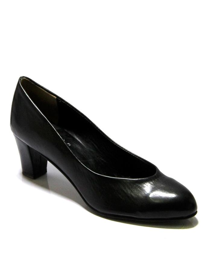 Black Leather Pumps For Women - 086-2203