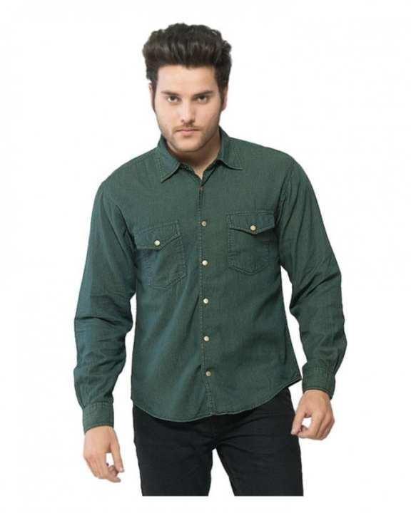 Dark Green Denim Brass Button-down Overshirt for Men
