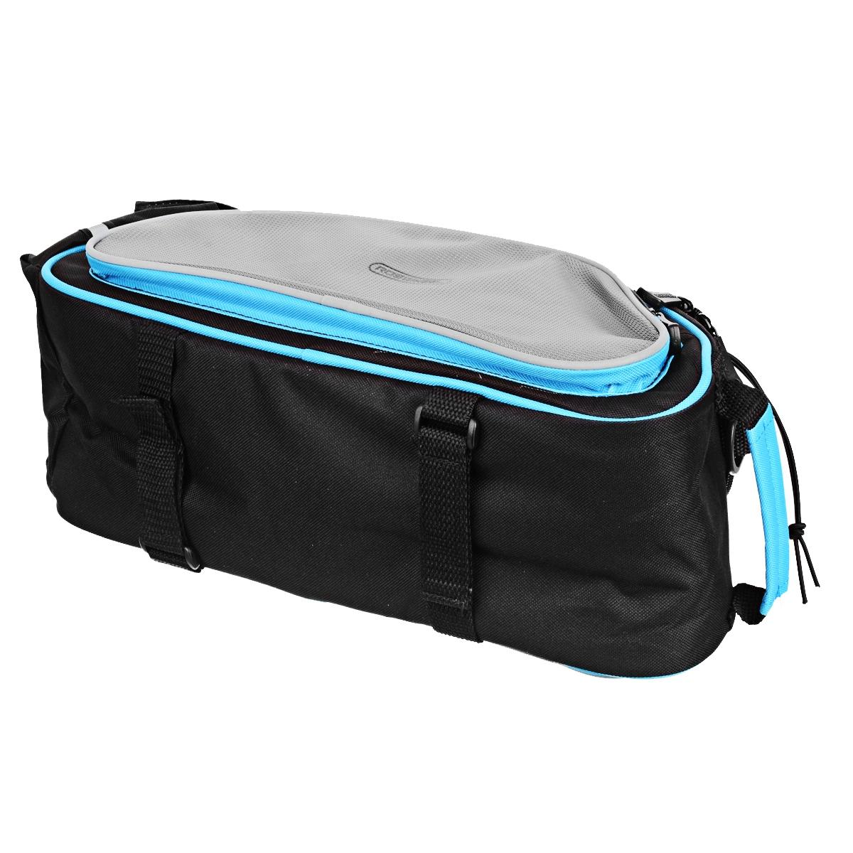 ROSWHEEL Bike Rear Rack Seat Pannier Bag - Black + Blue (13L)
