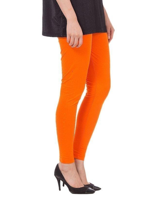 Orange Cotton Tights For Women