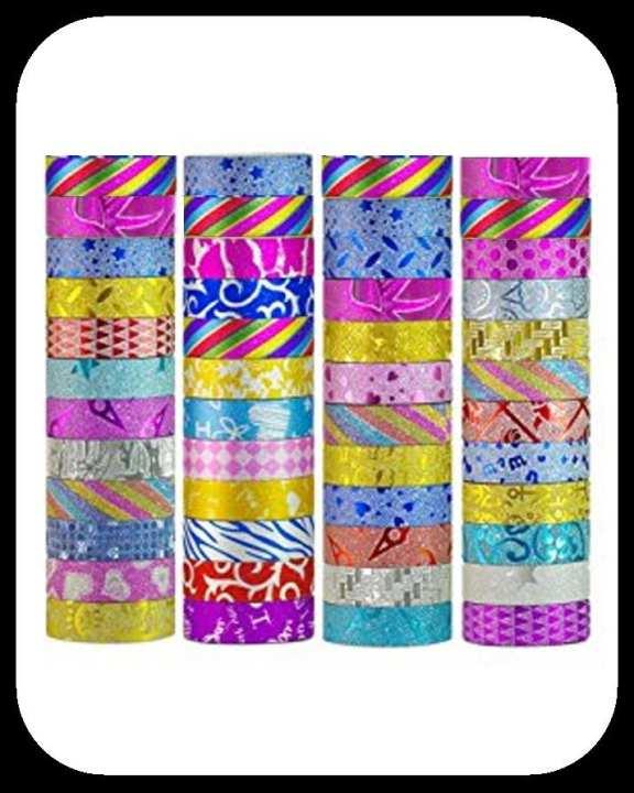 Pack of 12 Decorative Washi Tape - Glitter Tape - Multicolor