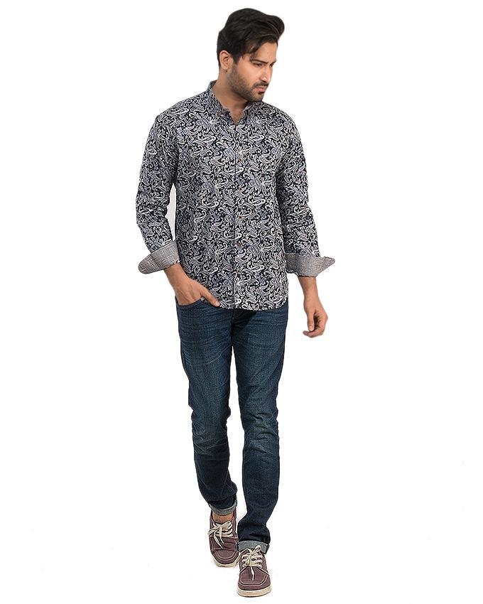 Black Cotton Printed Shirt For Men