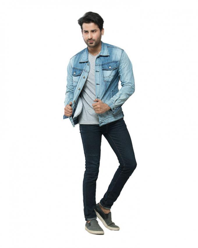 Blue Denim Sprayed Jacket With Silver Buttons for Men