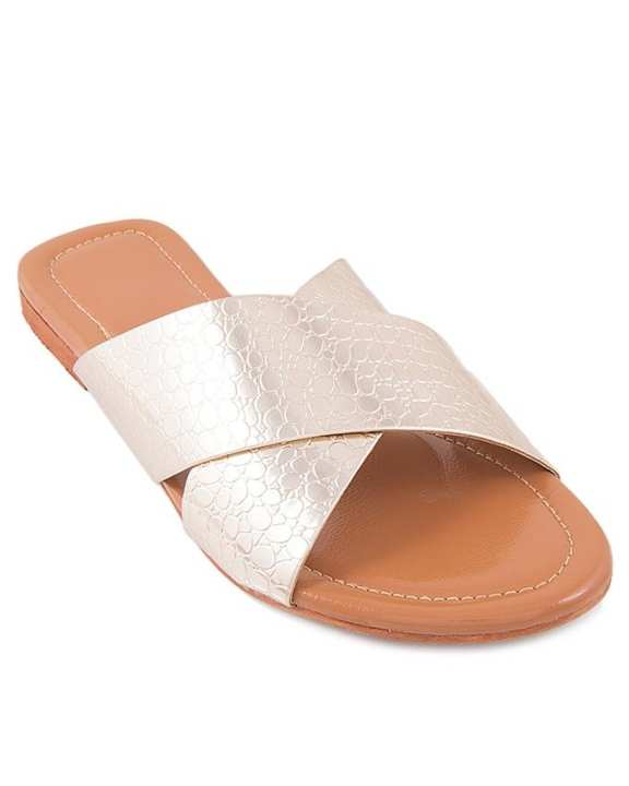 Golden Leather Cross Strap Casual Chappal for Women