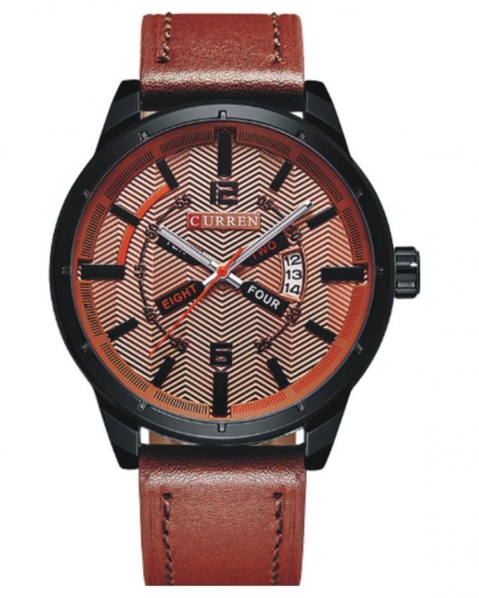 Brown Leather Analog Wristwatch For Men - 8211