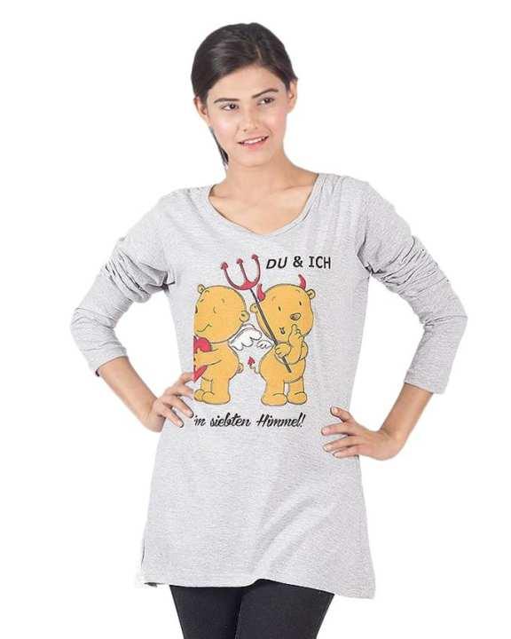 Grey Cotton Du & Ich Printed Top For Women