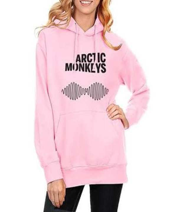 Rex Bazar - Pink Arctic Monkey Printed Hoodie For Women