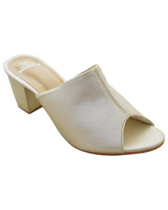 L/Golden Medium Block Heels Shoes For Women