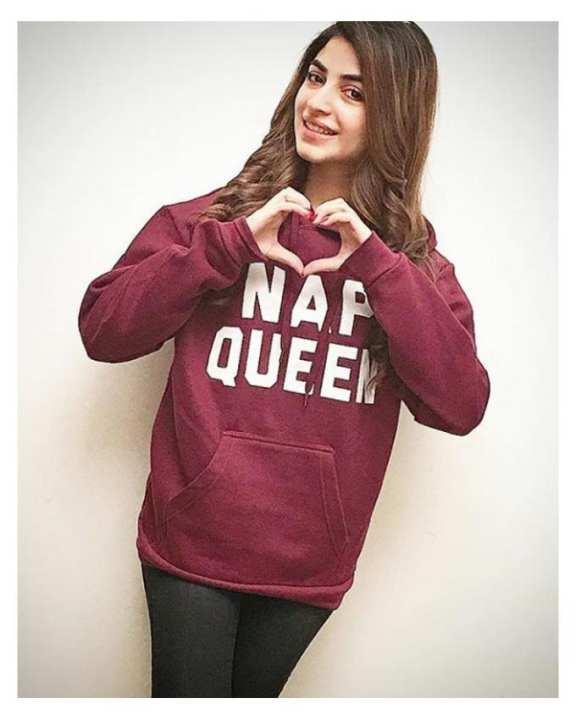 Maroon Fleece Nap Queen Print Hoodie For Women