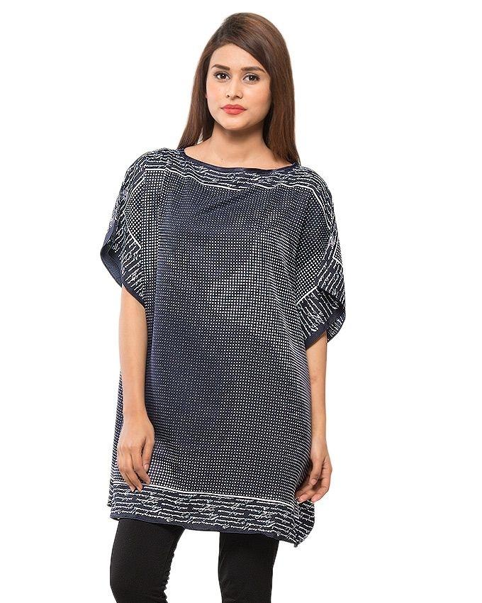 Navy Blue & White Dots Printed Polyester Poncho - PON09 NV03