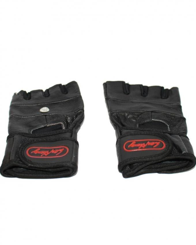 Gym Wrist Wrap Leather Gloves - Black