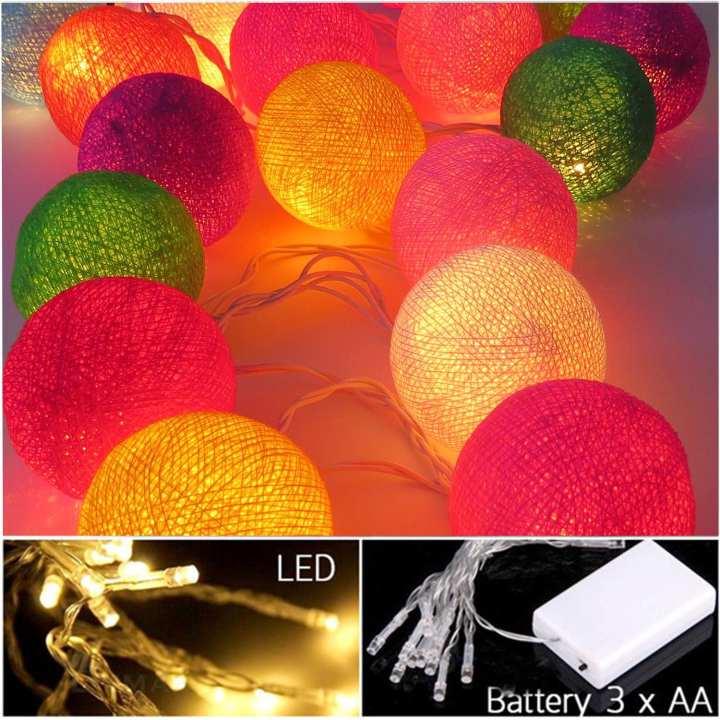 Fairy Lights Cotton Balls Multicolored Bulb Pack of 10 Balls Home Decor