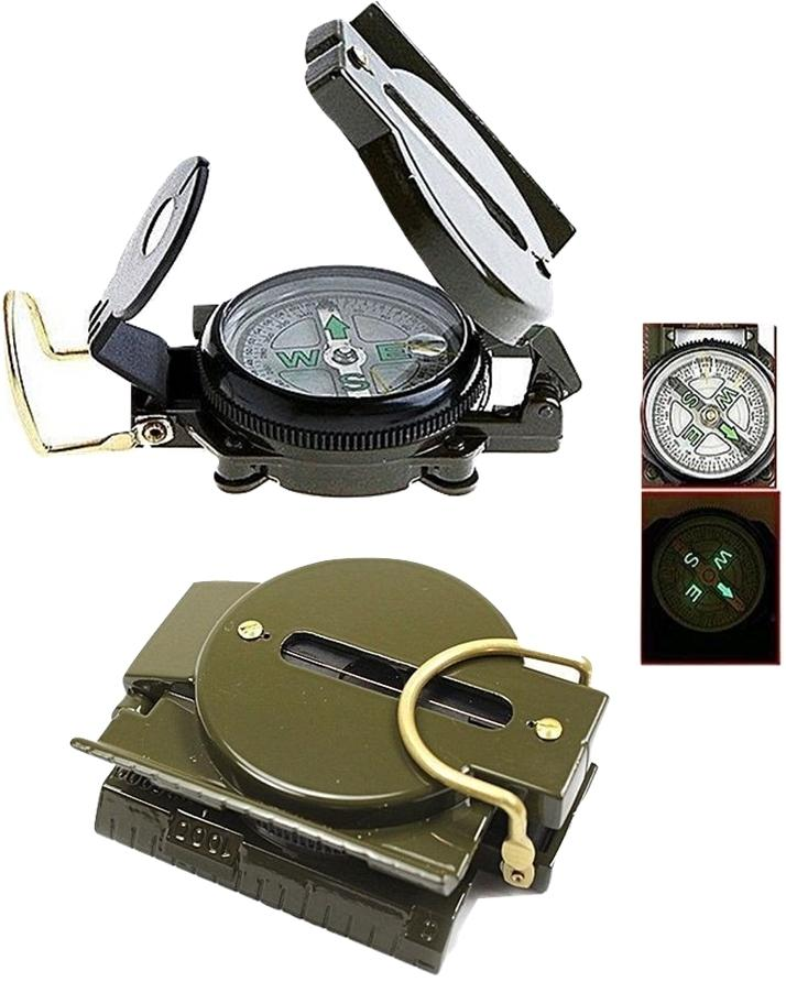 Military Compass with Magnifying Glass and Side Ruler