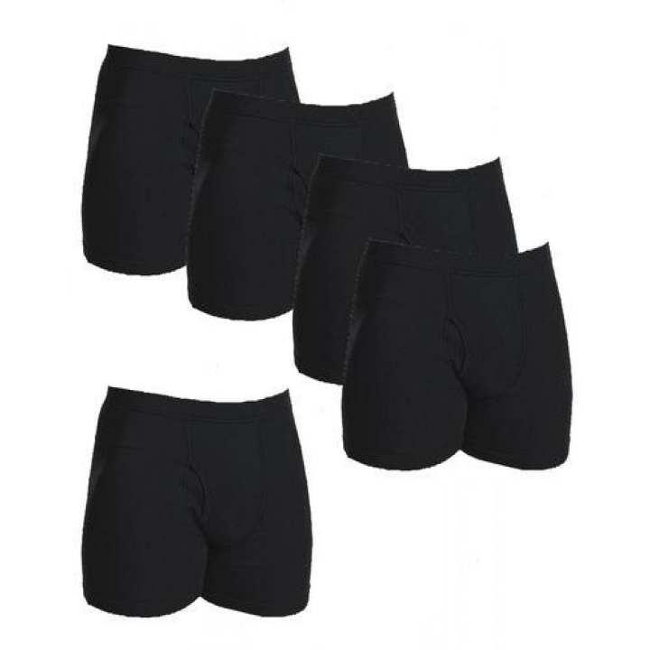 Pack Of 5 - Black Cotton Boxer Underwear For Men