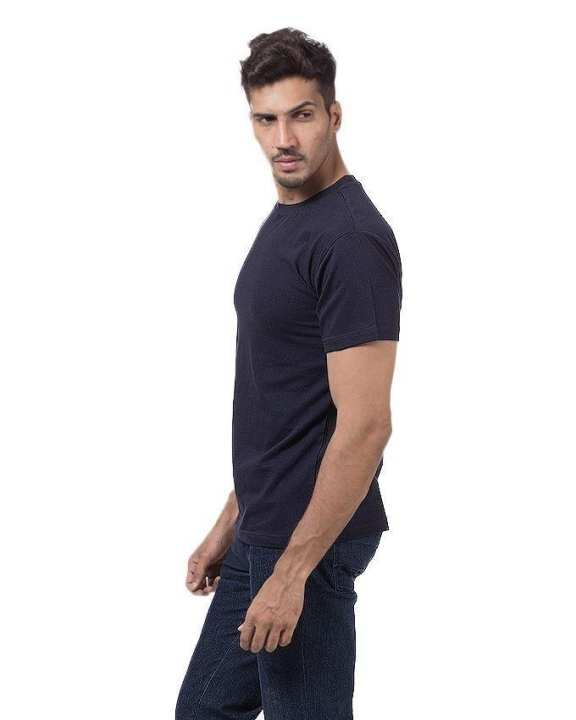 Pack Of 3 - Navy Blue Cotton Half Sleeves Round Neck T-Shirt for Men