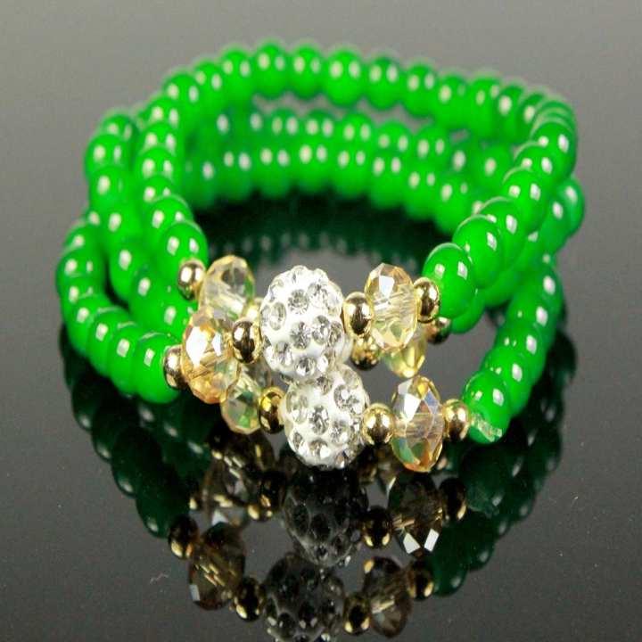 Trendy Bracelets For Women, Girl With Green, White Beads