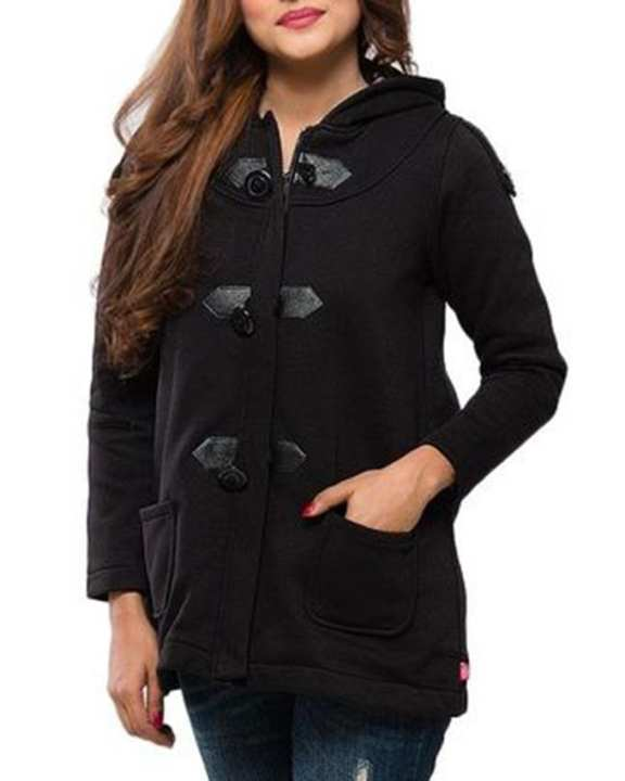 Black Cotton Polyester Hoodie for Women