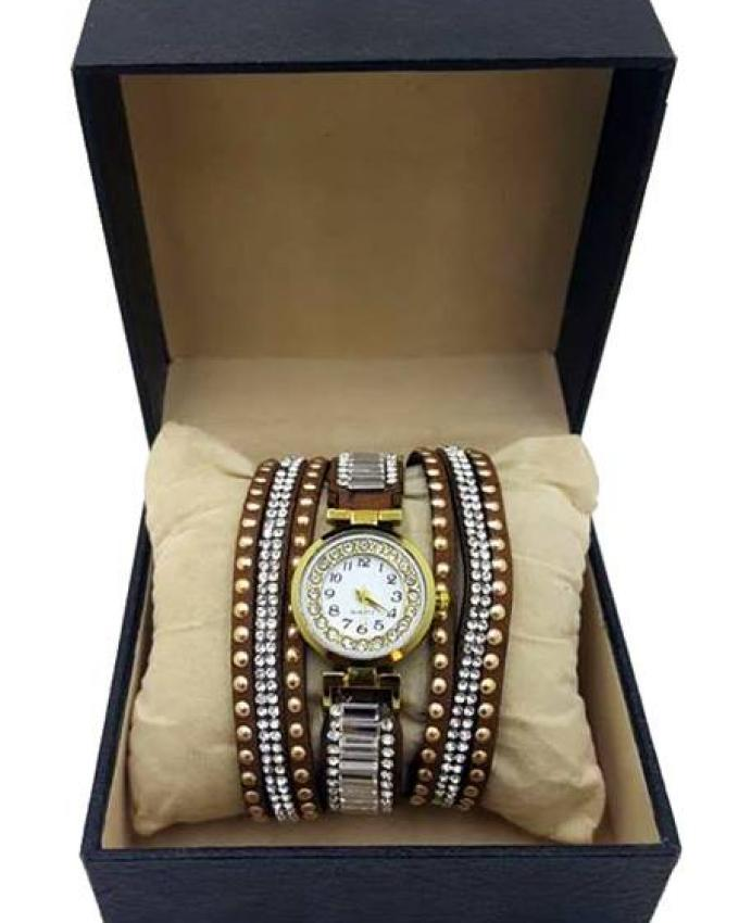 Brown Leather Bracelet Watch For Women