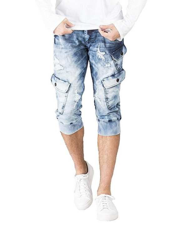 Men Cargo Denim Biker Jeans Shorts With Zippers
