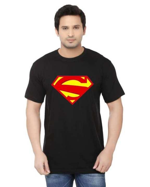 Black Cotton Superman Printed T-Shirt For Men
