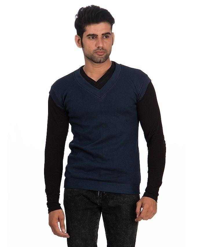 744a191e228816 Navy Blue Cotton   Wool Sweater for Men