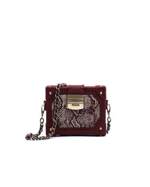 Burgundy Leather Handbag For Women