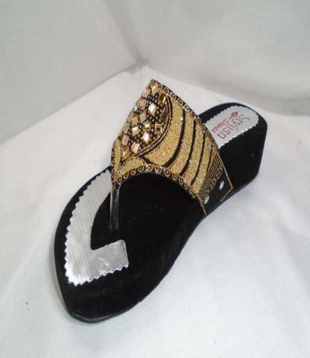 Golden Black Synthetic Fancy Sleeper For Women -250-50712