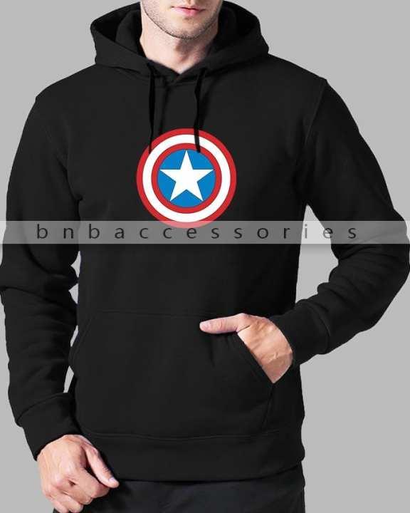 BnB Accessories Black Captain America Kangaroo Hoodie For Men