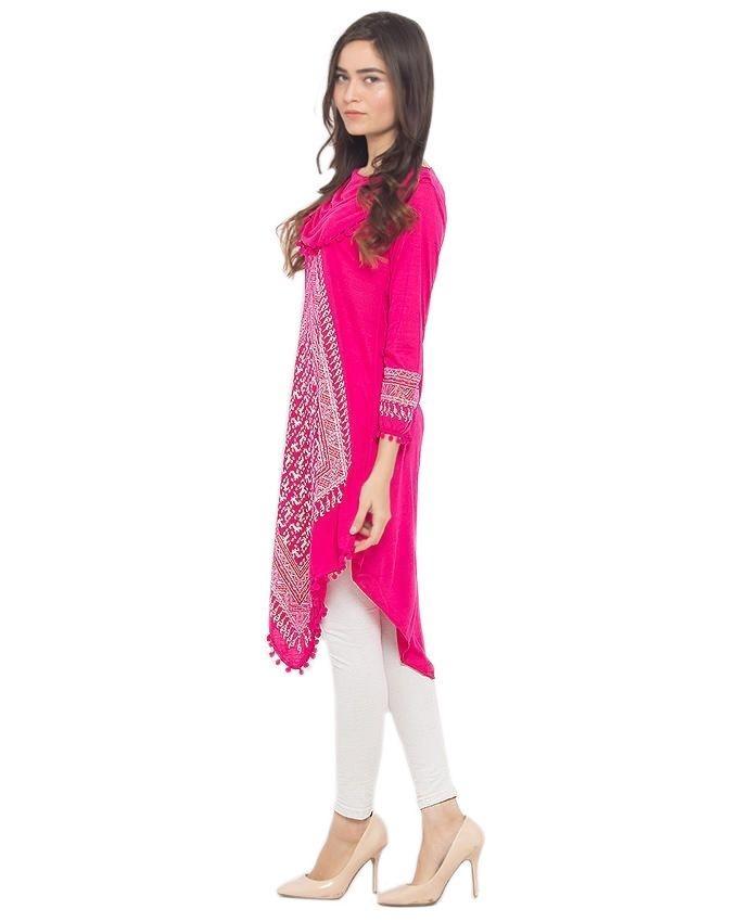 Pink Viscose Printed Kurti For Women