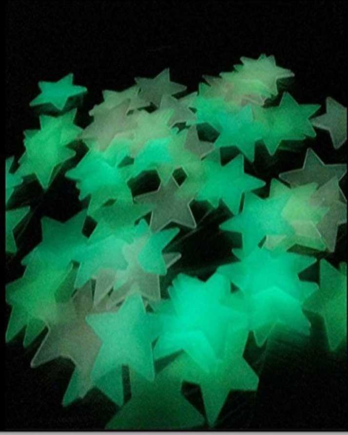 200 Pcs Creative Glowing In The Dark Stars Sticker Wall 3D Wall Stickers Luminous Stick Stars