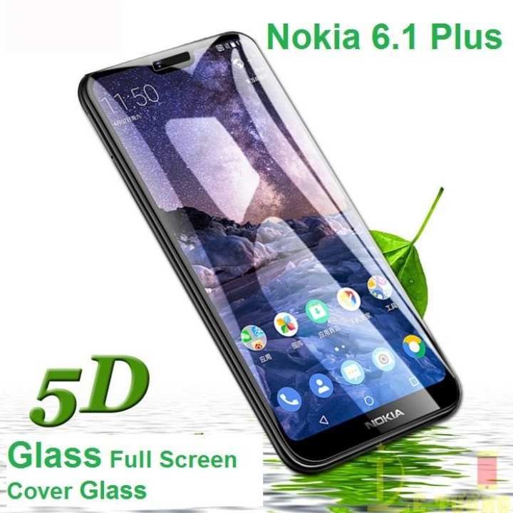 Nokia 6.1 Plus Glass Protector 5D Glass Full Screen Cover - Black