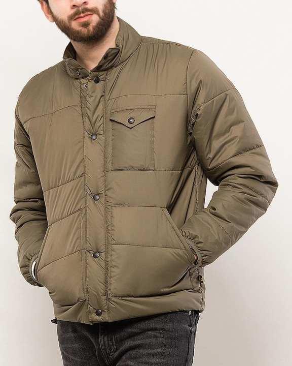 Olive Green Polyamide Jacket For Men