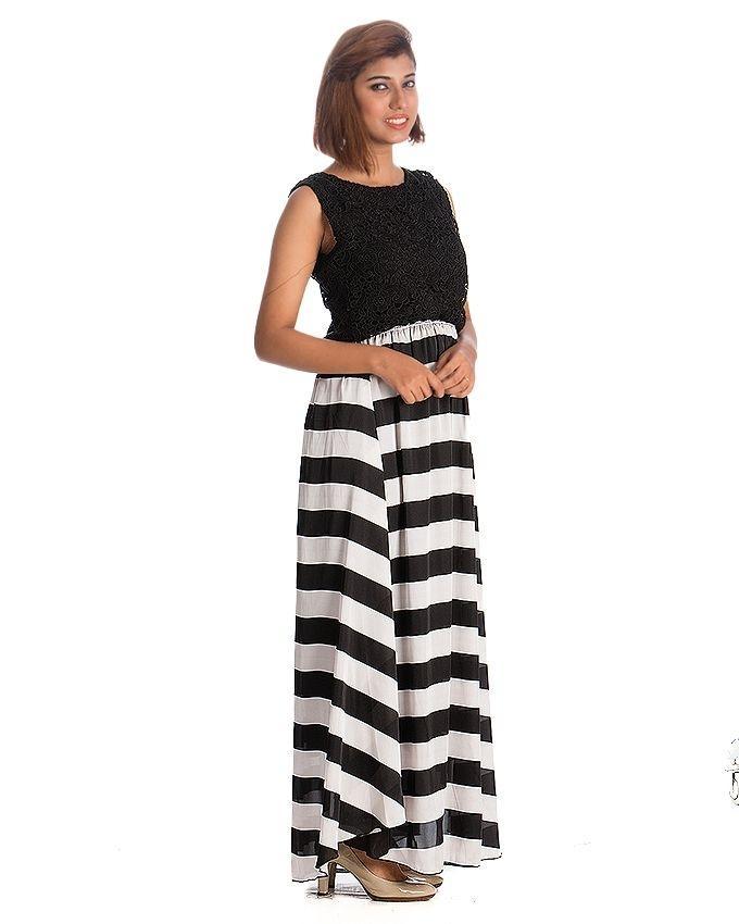 Black & White Viscose Striped Skirt For Women